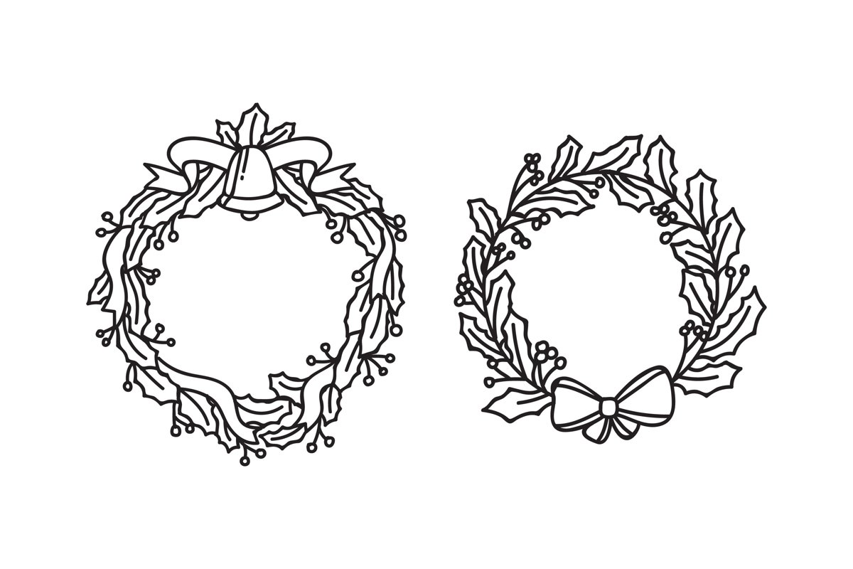 Christmas Wreaths Silhouettes example image 1