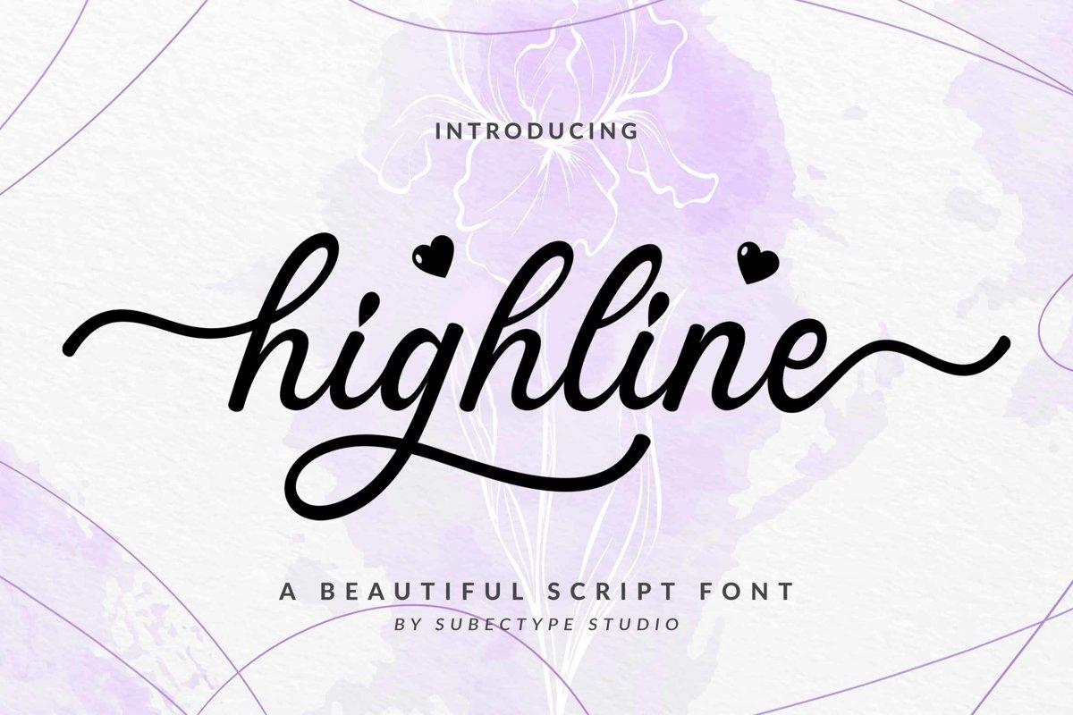 Highline / Beautiful Script Font example image 1