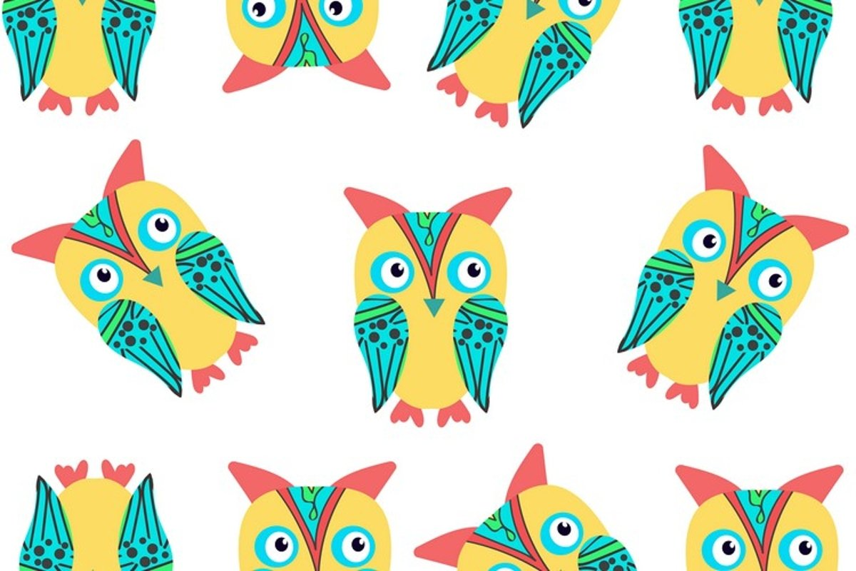 Owls seamless pattern, vector image example image 1