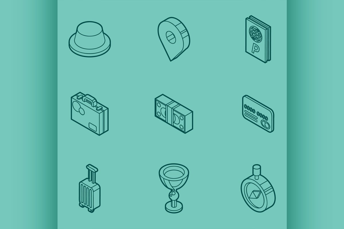 Traveling color outline isometric icons example image 1