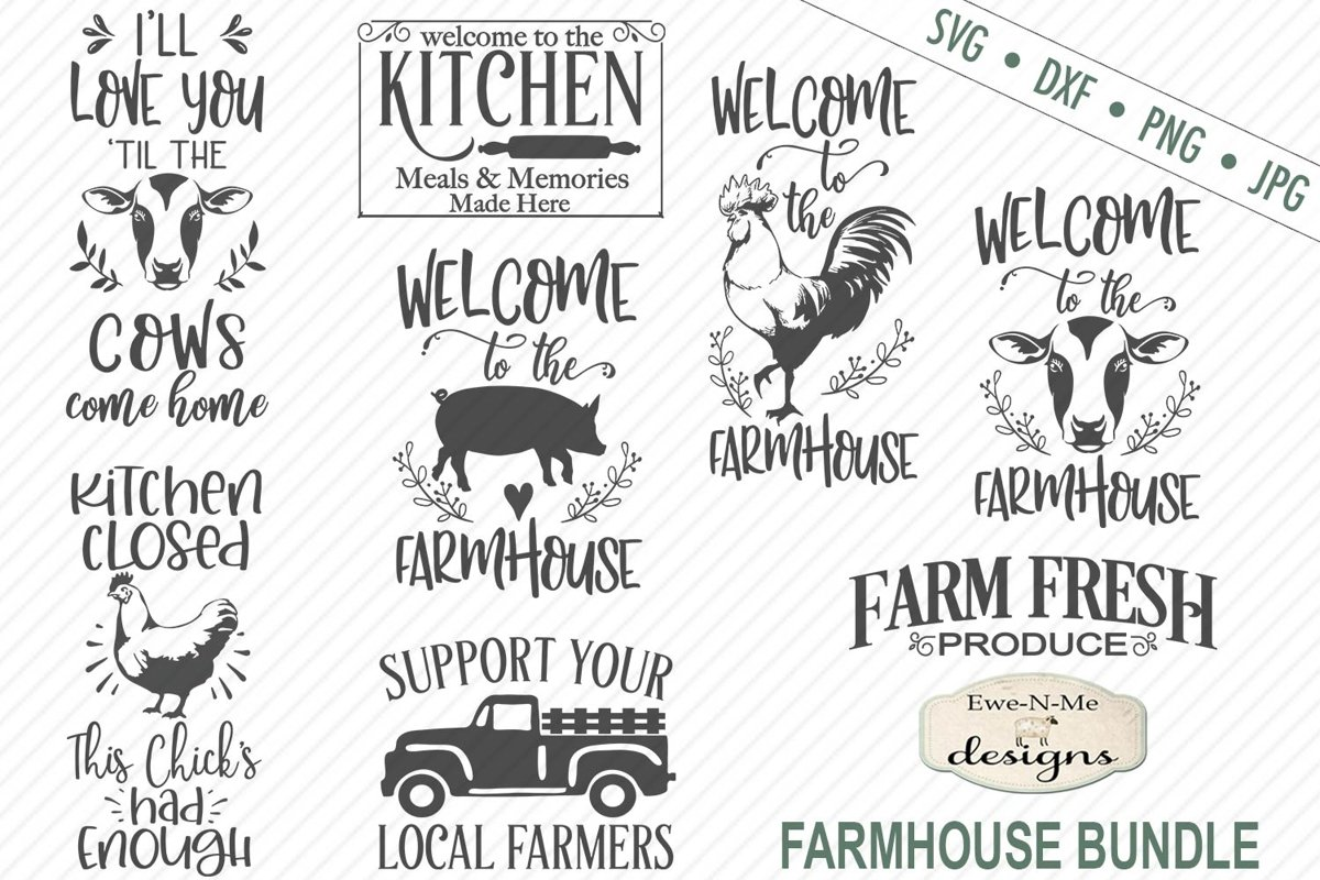 Farmhouse Bundle - Farm Animals SVG DXF Cut Files example image 1