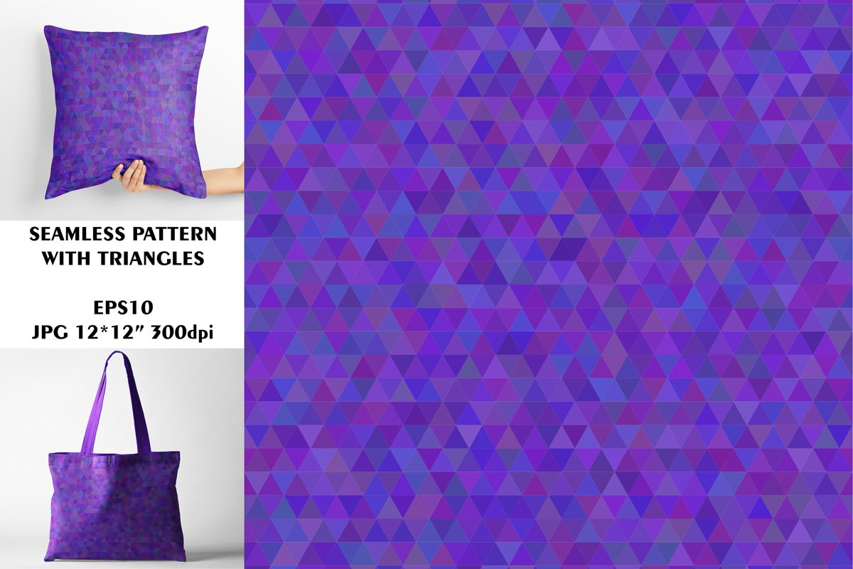 Seamless Pattern with Purple Triangles. Digital Paper. example image 1