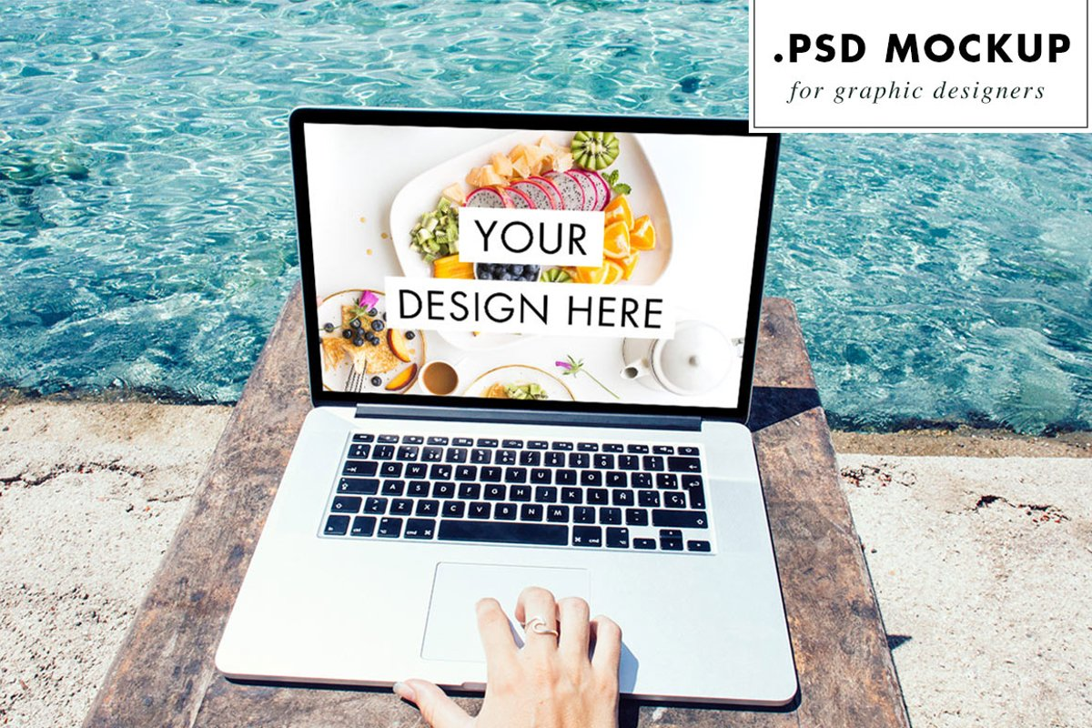 PSD Web Mockup - Laptop at the Beach | Digital Nomad example image 1