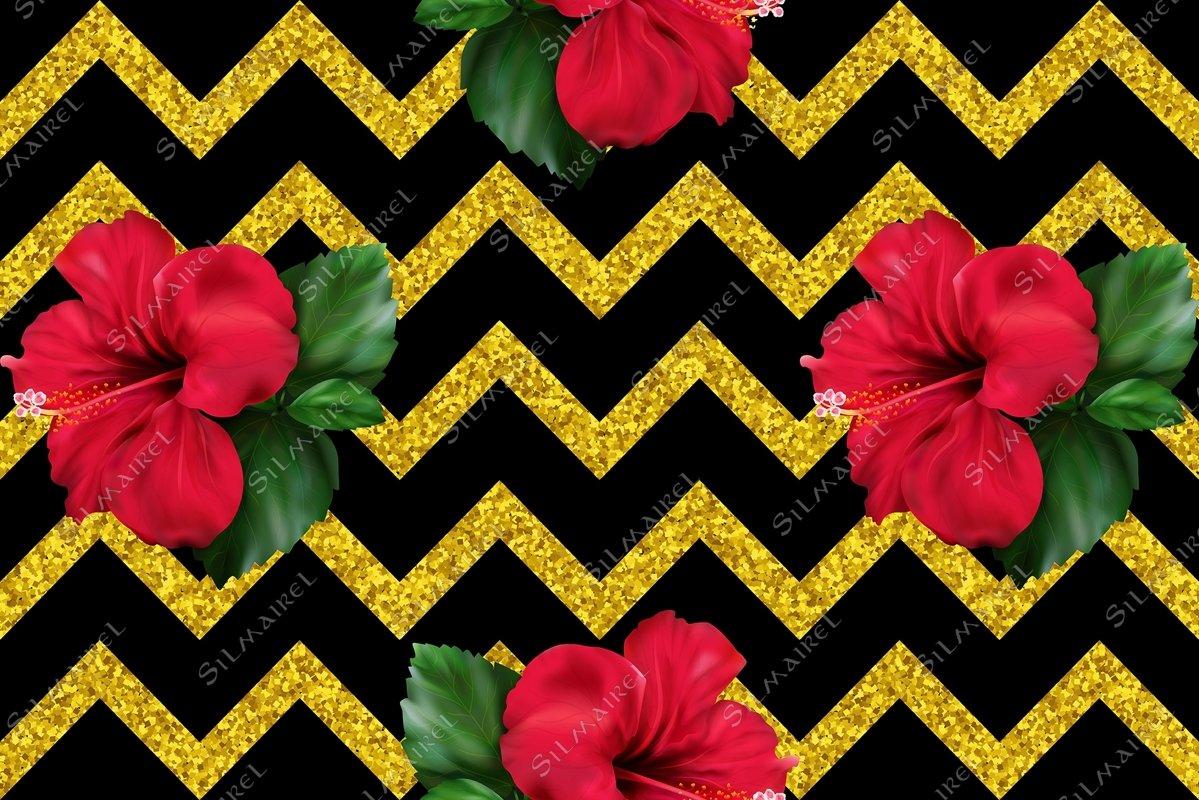 Hibiscus karkade flower glitter geometric seamless pattern example image 1