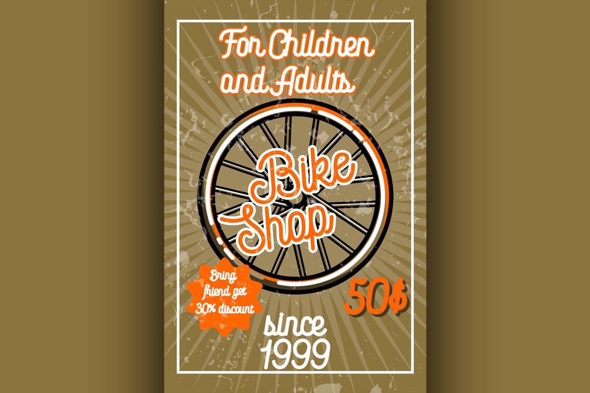Color vintage bike shop banner example image 1