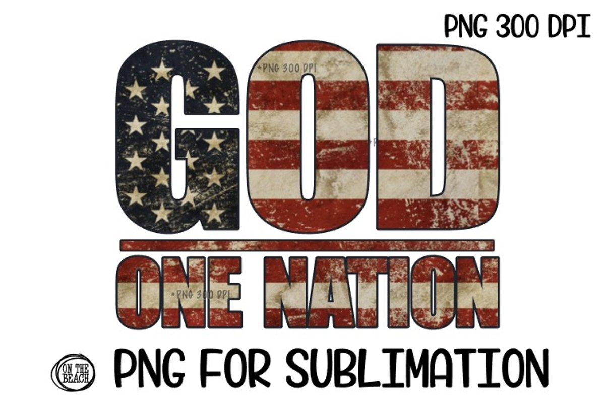 GOD - One Nation - PNG for Sublimation example image 1