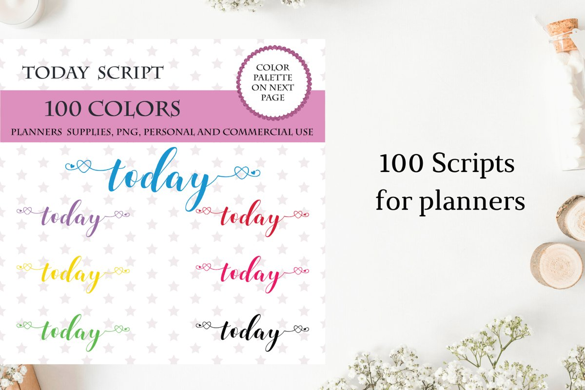 100 Today font clipart, Today sticker clipart, Today planner example image 1