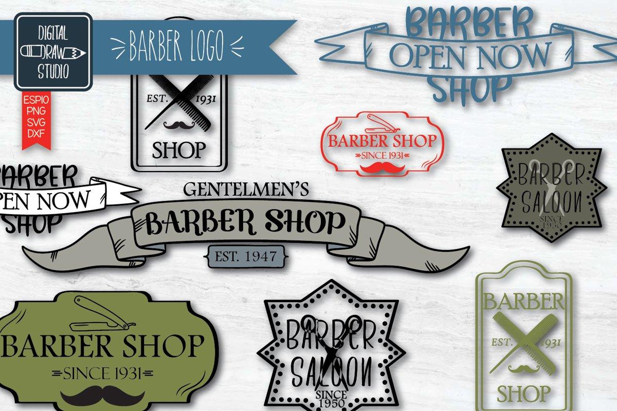 Hand Drawn Barber Shop Logo| Retro Hairdresser | Esp Svg Png example image 1