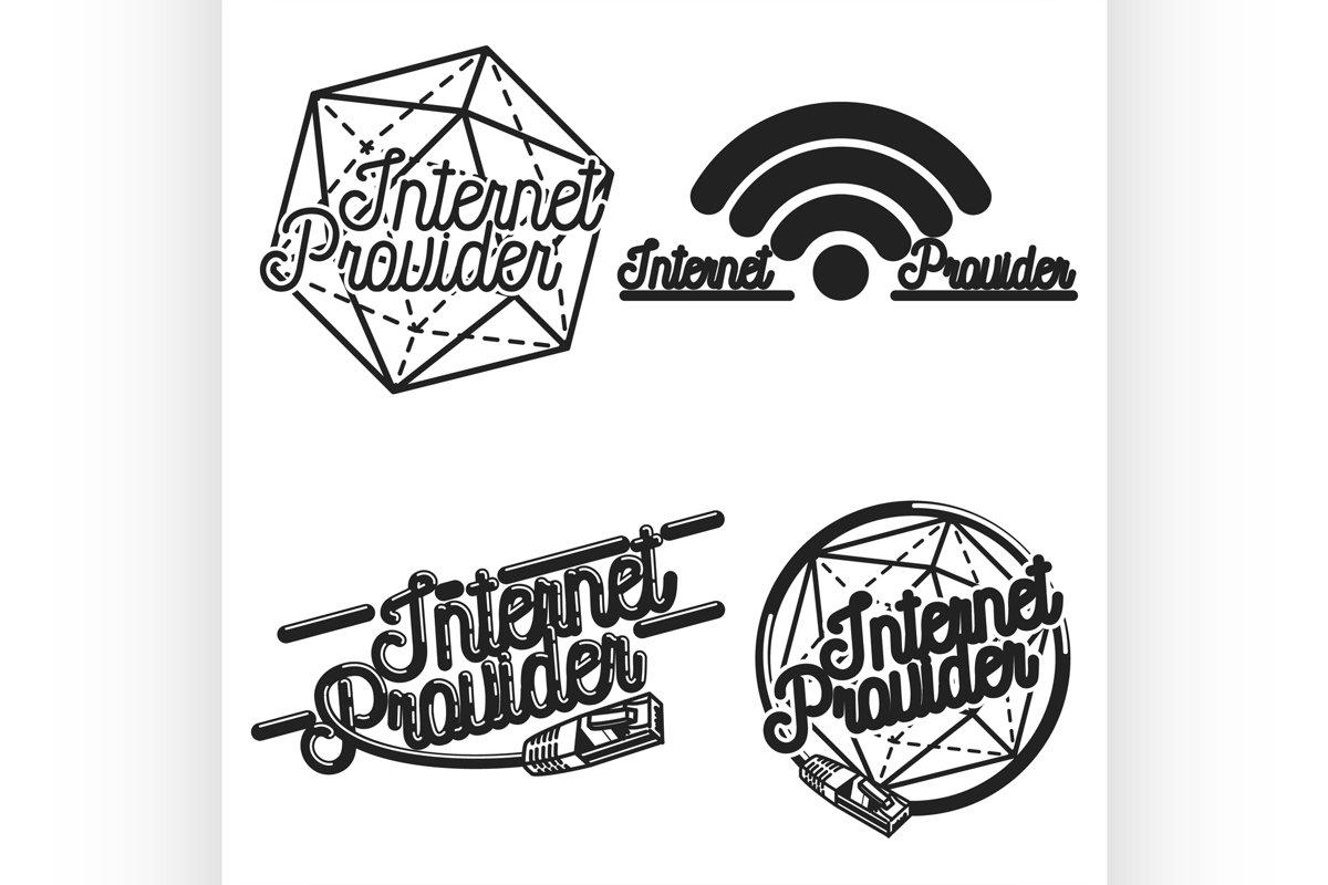 Color vintage internet provider emblems example image 1