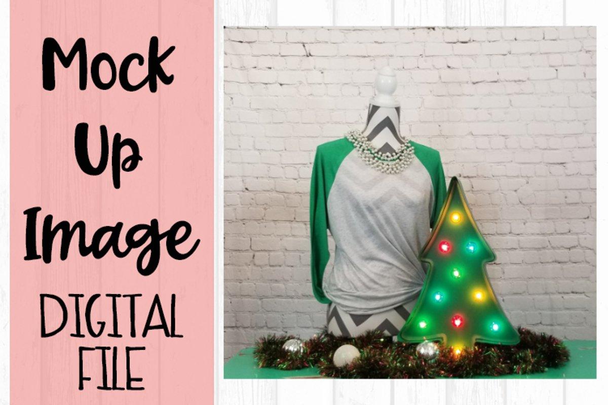 Green Raglan Christmas Mock Up example image 1