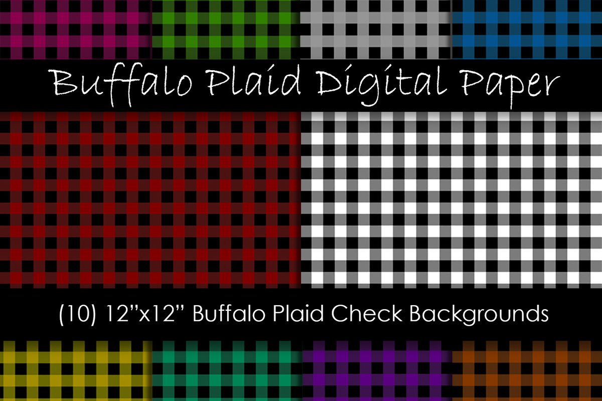 Buffalo Check Digital Paper - Plaid Backgrounds example image 1