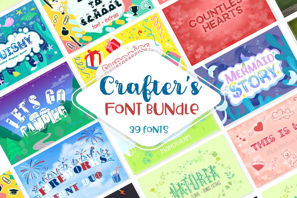 Sale! Crafter's Huge Font Bundle   39 Fonts in 26 Families example image 1