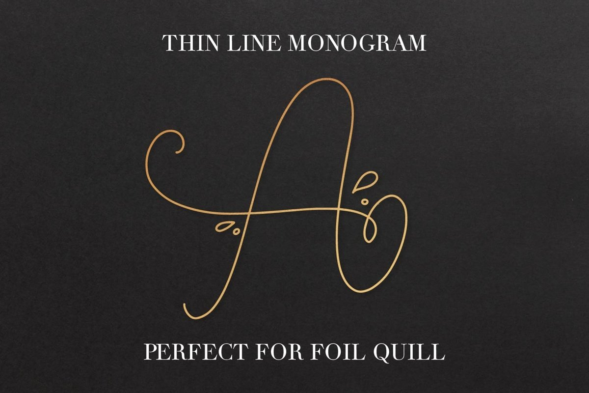Thin Line Monogram - A Monogram Font Created For Foil Quill example image 1