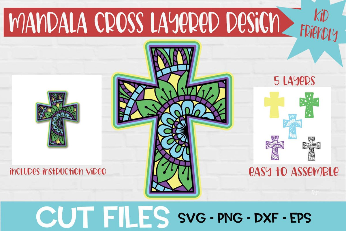 Download Cross Mandala 3D Layered SVG Design