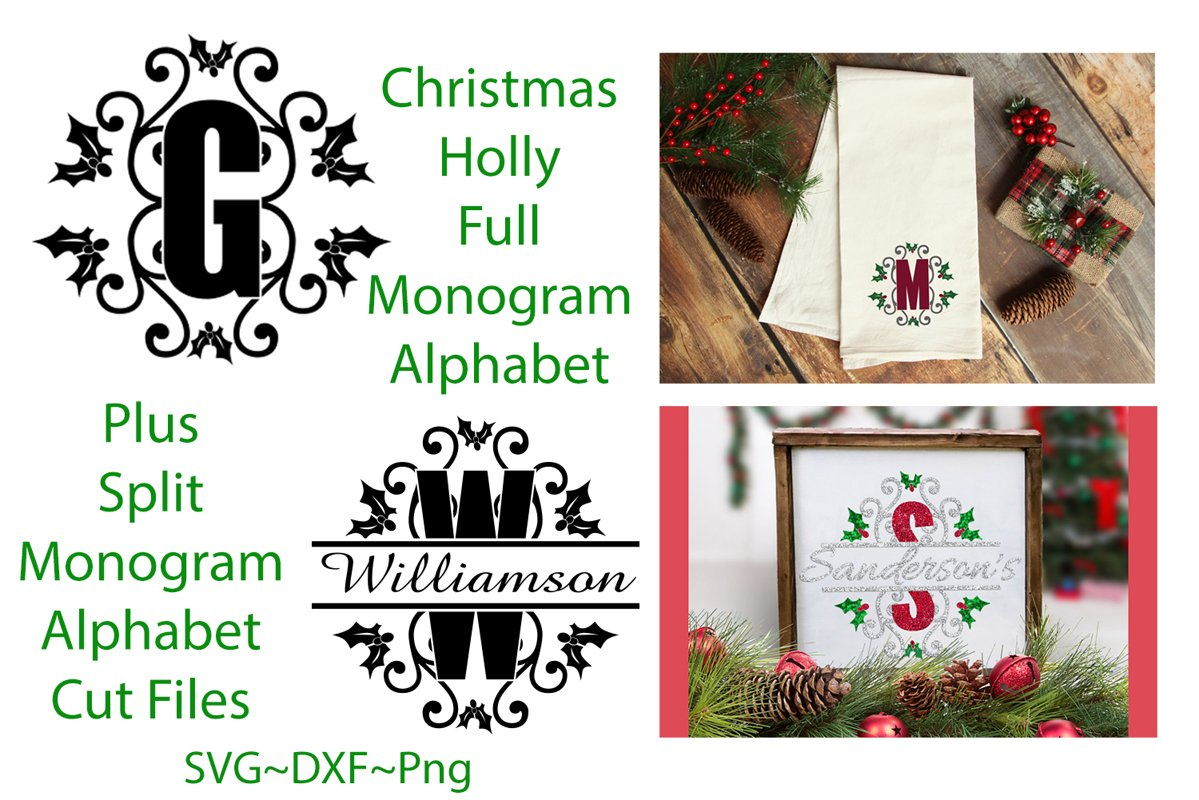 Christmas Holly Monogram & Split Alphabet Duo example image 1