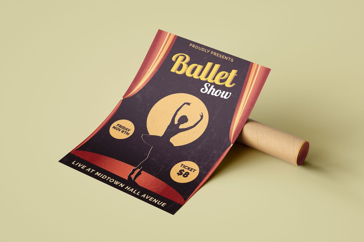 Retro Ballet Show - Flyer Poster example image 1