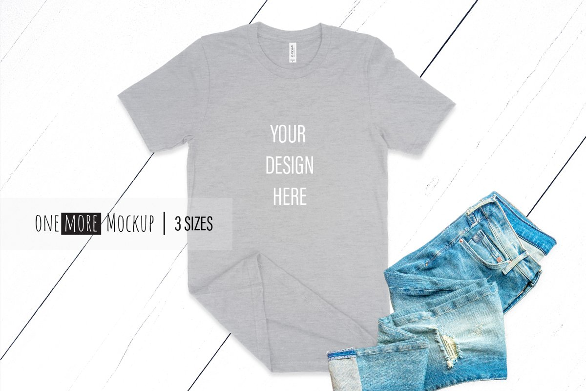 Grey TShirt Mockup | Bella Canvas 3001 Heather Athletic example image 1