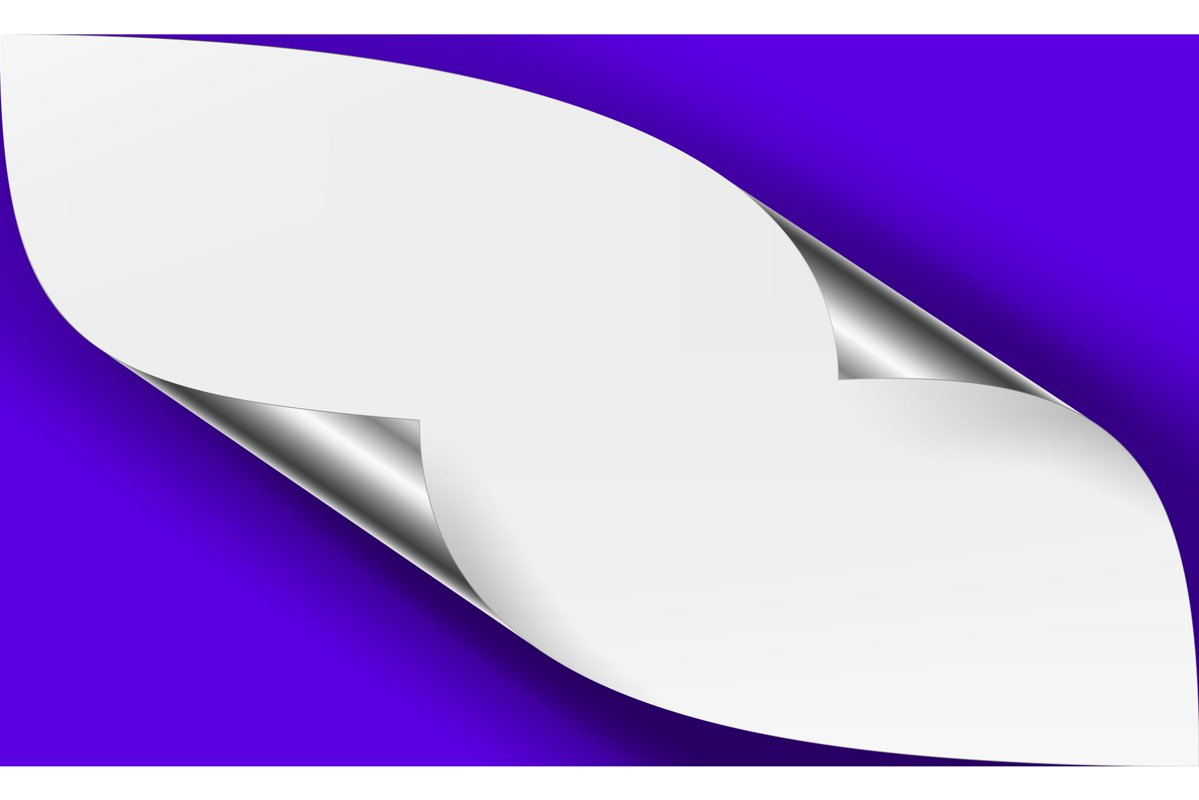 Curled Metallic Corner Vector. Realistic Paper With Soft example image 1