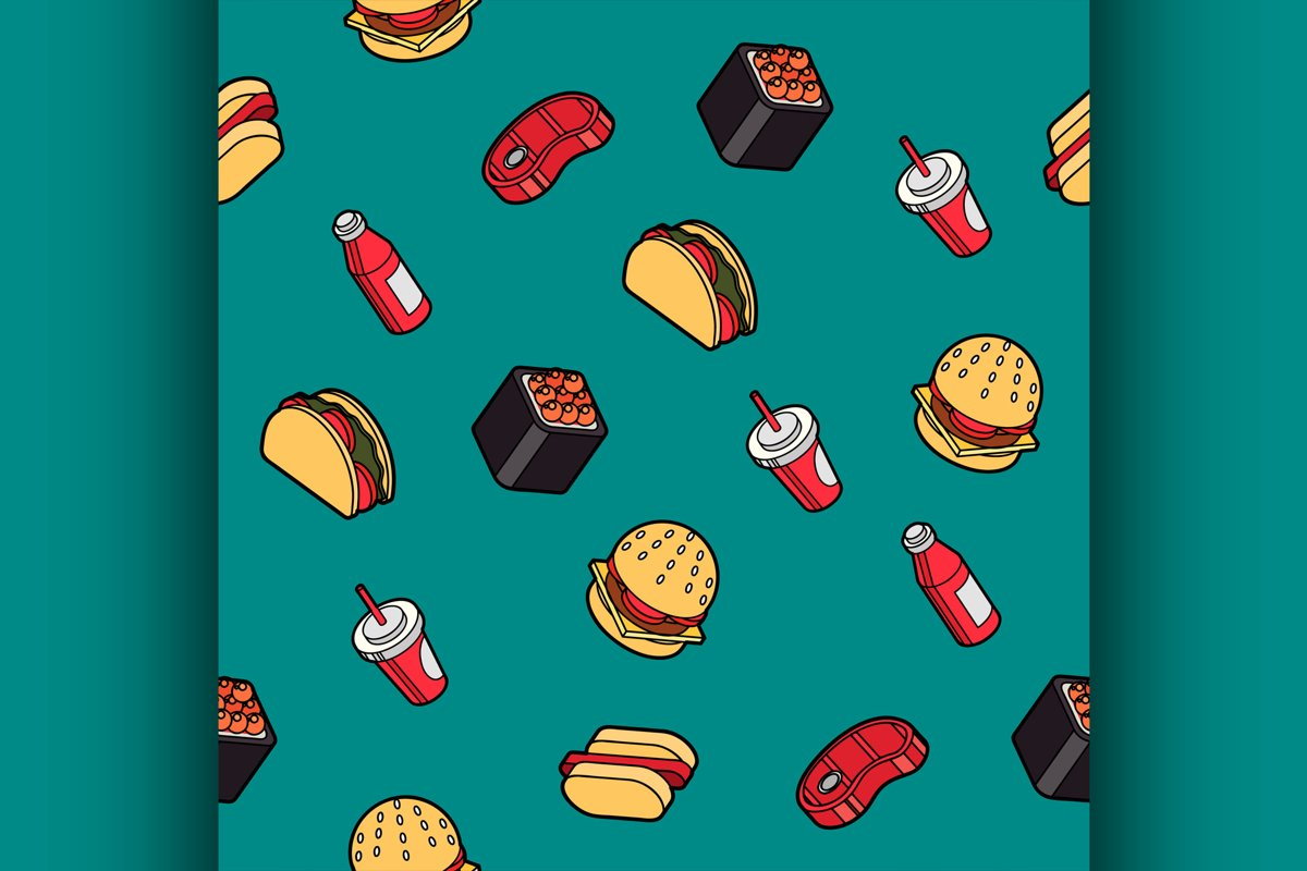 Fast food outline color isometric pattern example image 1