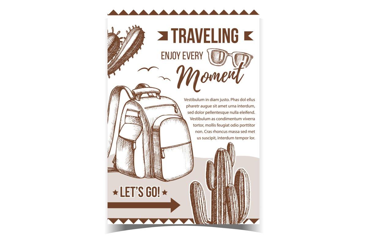 Traveling Backpack On Desert Sand Banner Vector example image 1