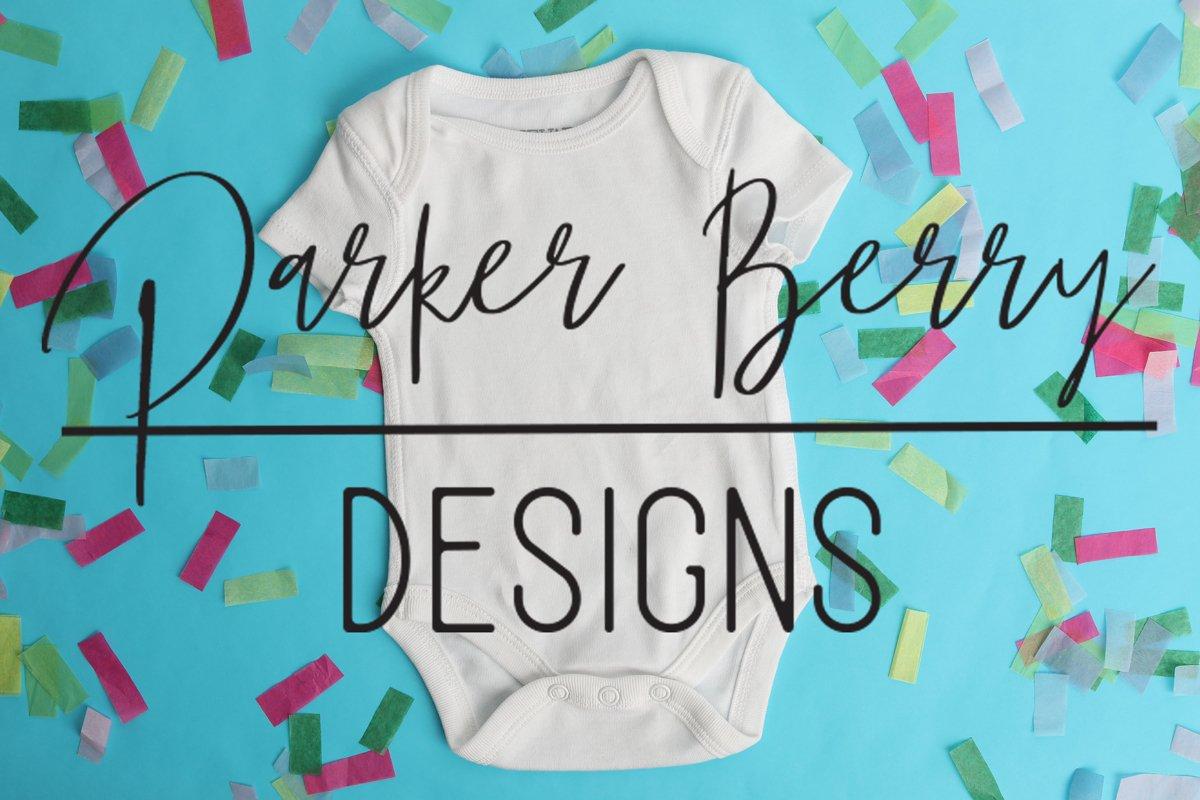 White Baby Bodysuit Mock up, Digital Download for svg design example image 1