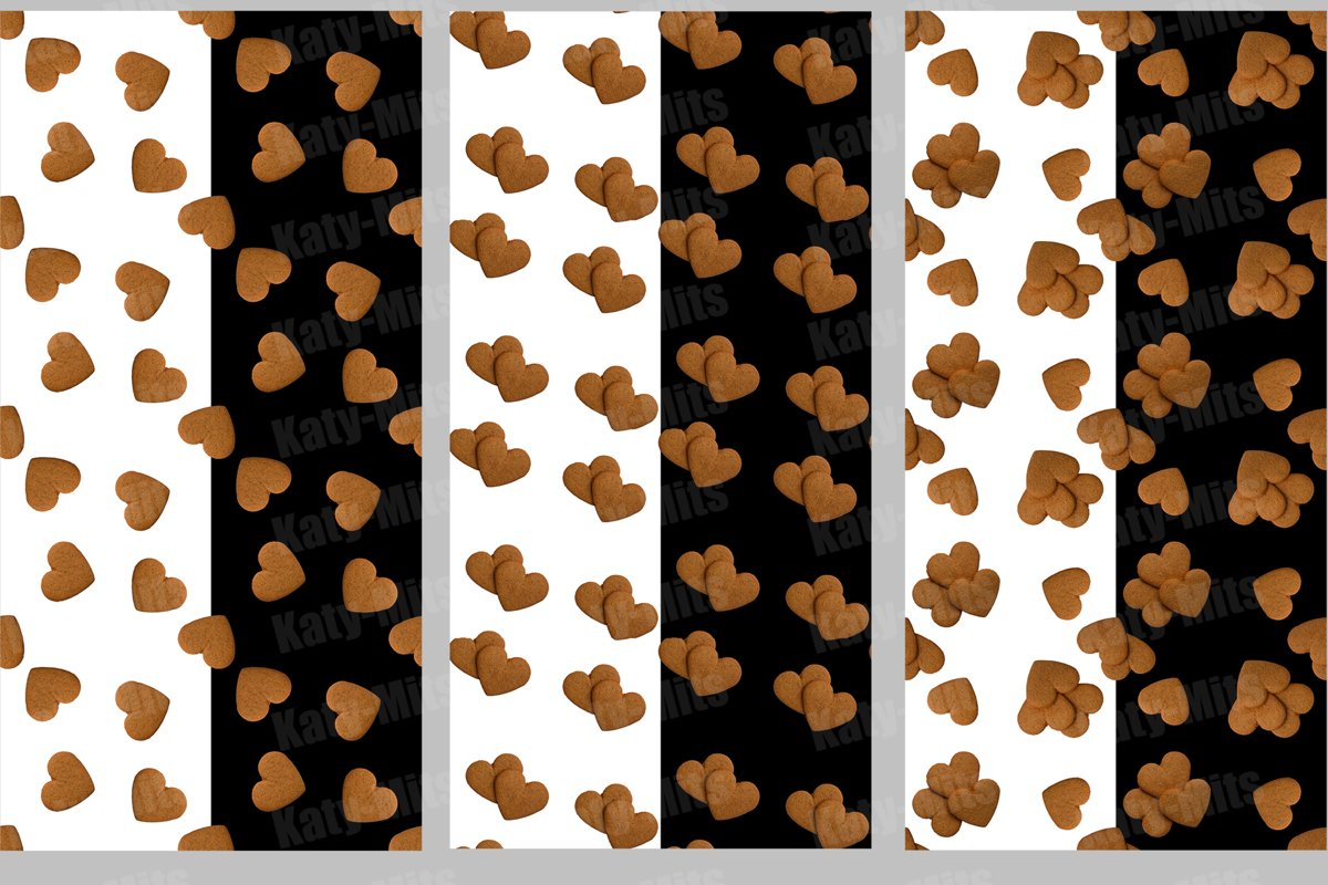 3 Black and white seamless patterns of heart shaped cookies example image 1