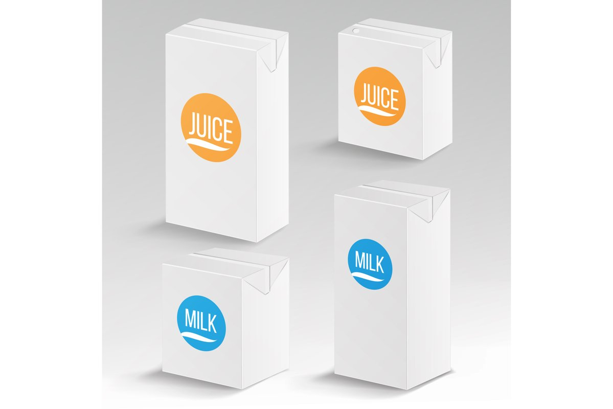 Juice and Milk Package Vector Realistic Mock Up Template. example image 1