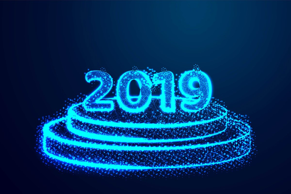 Happy New year 2019. Round podium, pedestal or platform illu example image 1