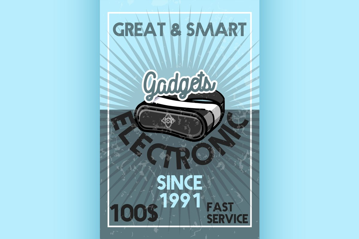 Color vintage electronic gadgets banner example image 1