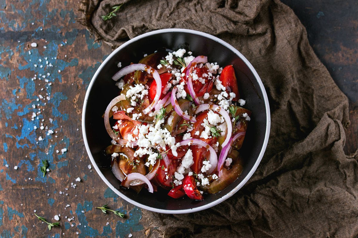 Tomatoes and onion salad example image 1