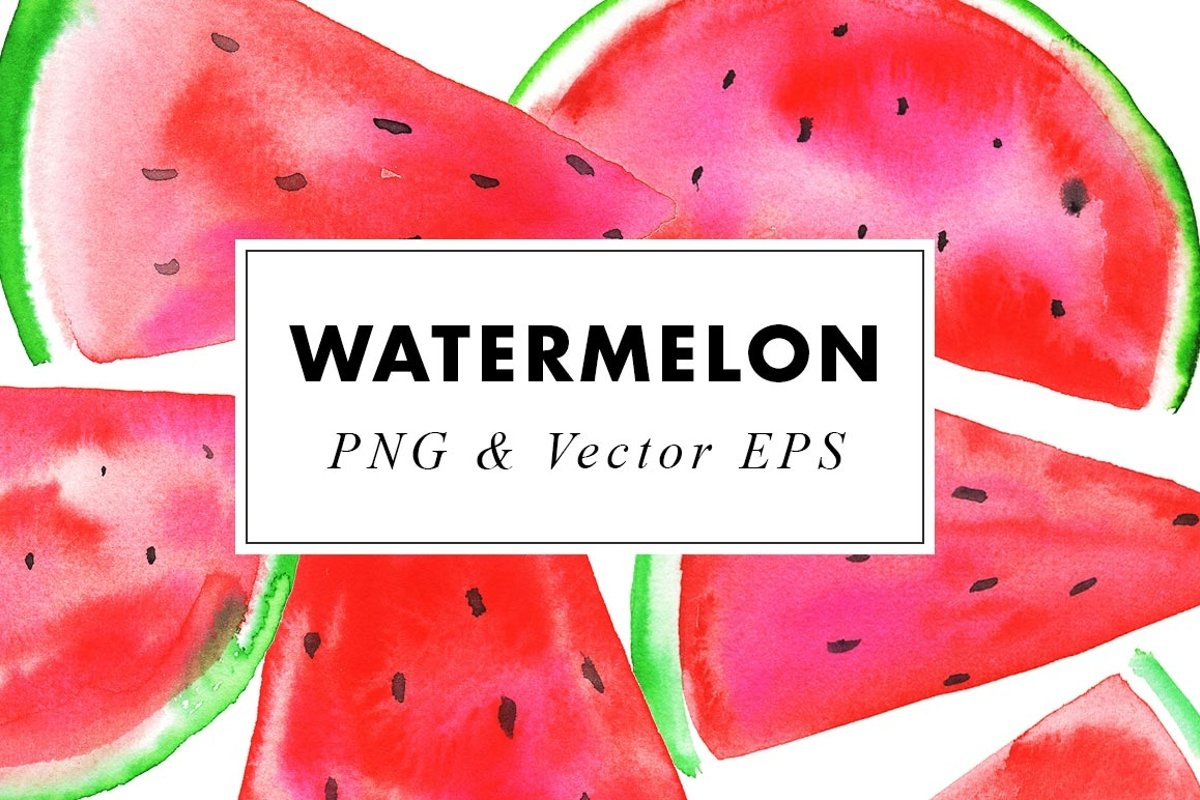 Watercolor Watermelon Illustrations Clip Art in PNG & Vector example image 1