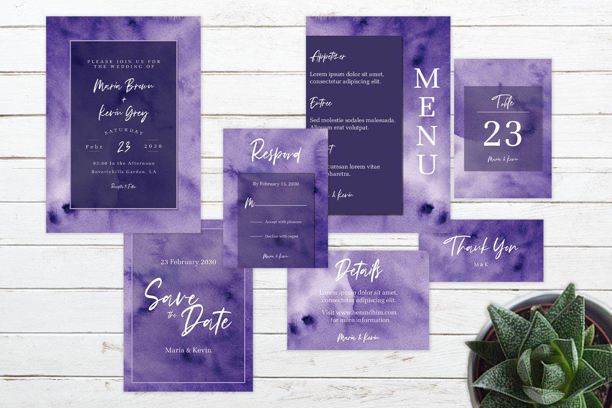 Abstract Deep Purple Watercolor Wedding Invitation Set example image 1