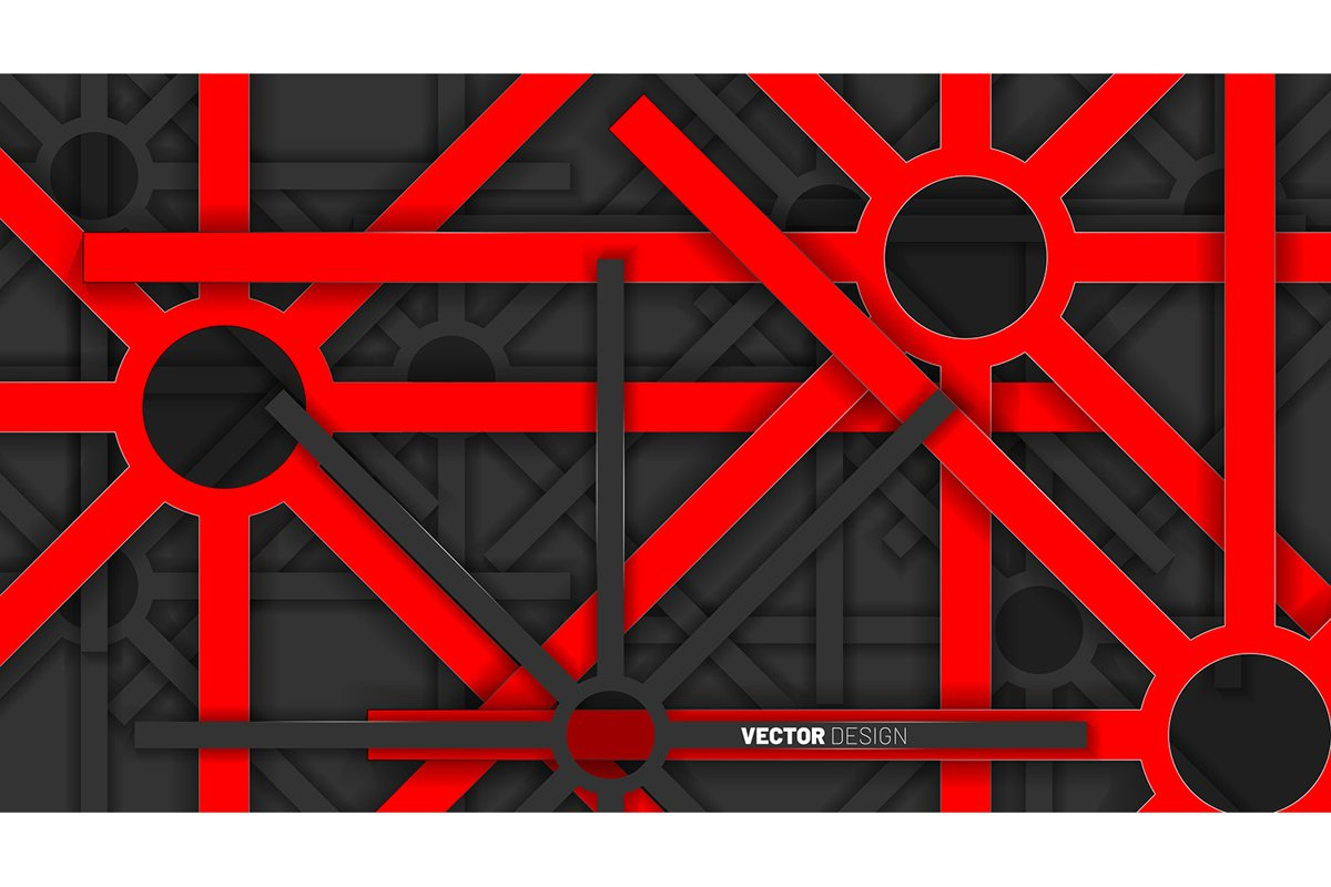 abstract vector background. Red geometric shapes overlap example image 1