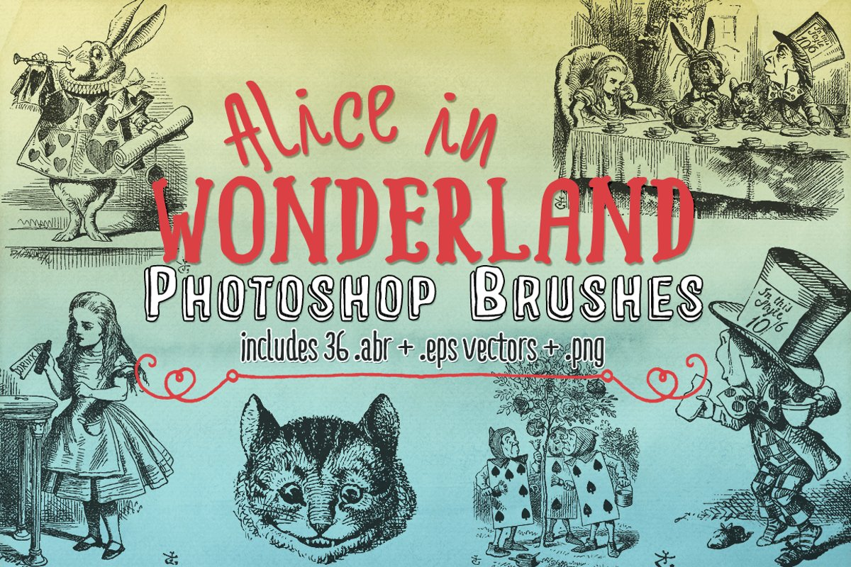 Alice in Wonderland Photoshop Brushes, eps Vectors & png example image 1