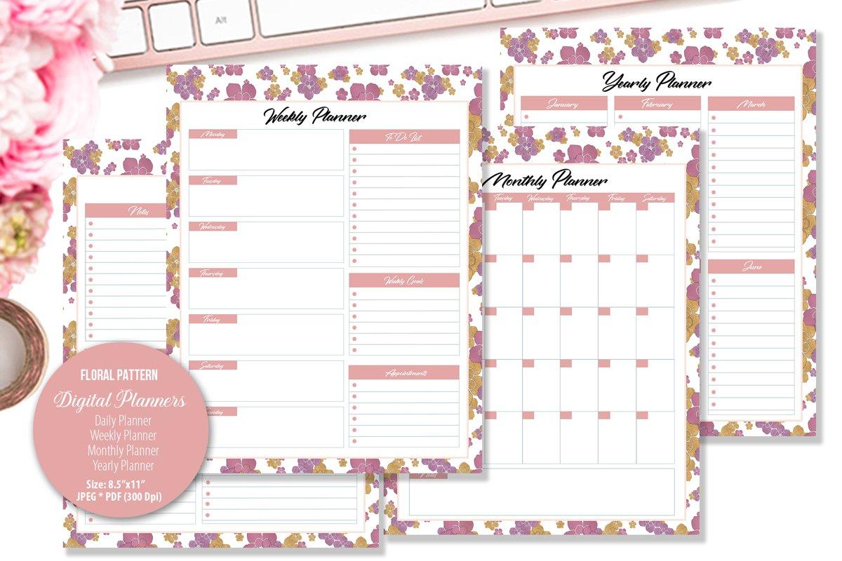 Rose Floral Pattern Digital Planner example image 1