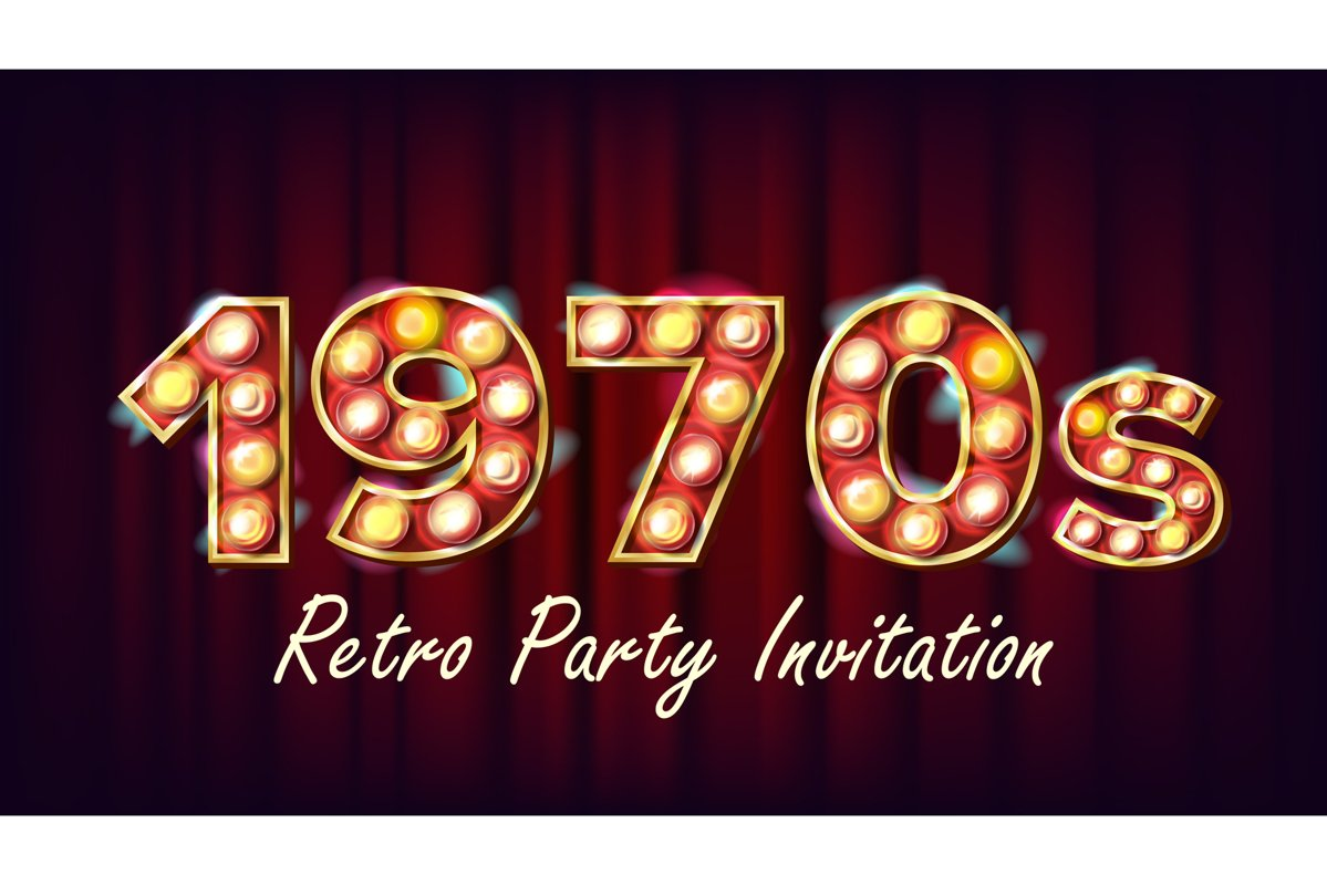 1970s Retro Party Invitation Vector. 1970 Style. Lamp Bulb. example image 1