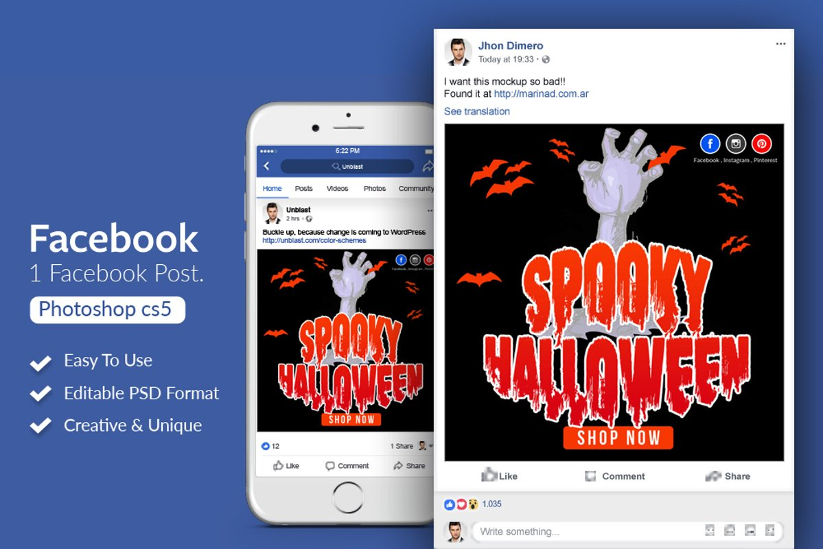Halloween Spooky Facebook Post Banner example image 1