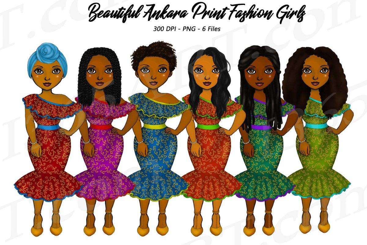 Beautiful Ankara Clipart Black Girl African Natural Hair PNG example image 1