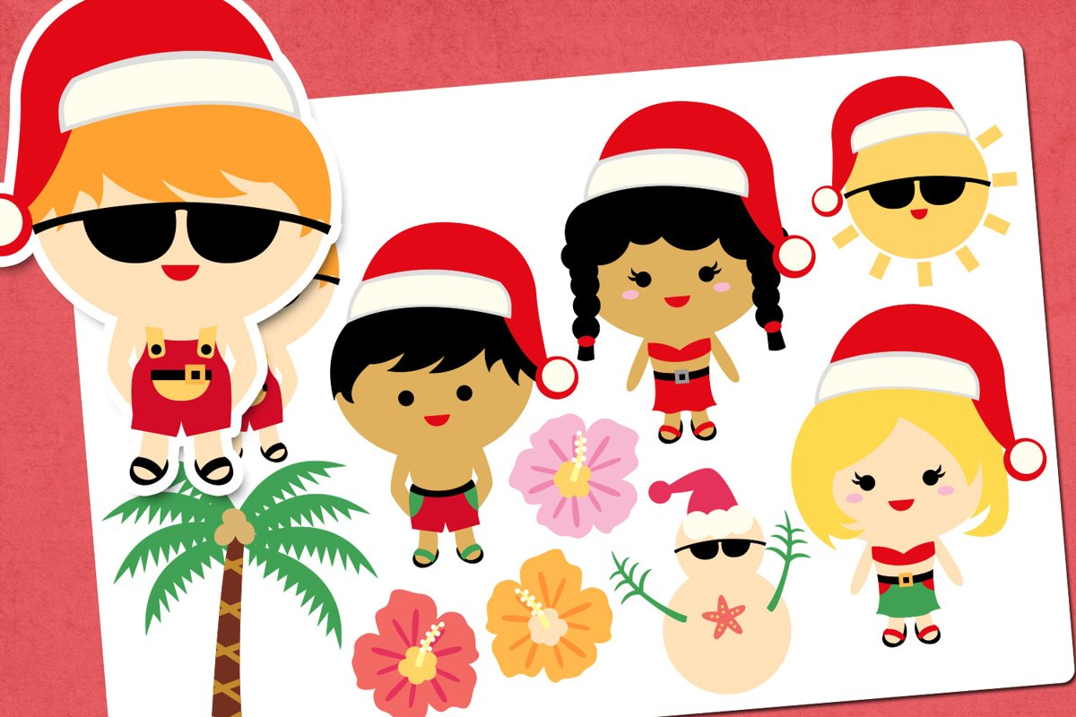 Christmas Beach Party Illustrations Clip Art example image 1