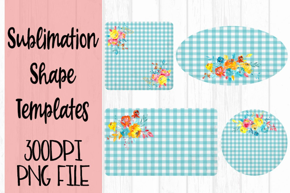 Blue Gingham and Flowers Sublimation Templates example image 1