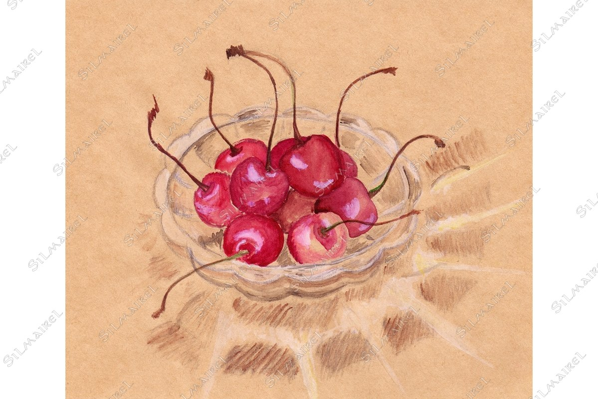Watercolor cherry in crystal ware craft sketch example image 1