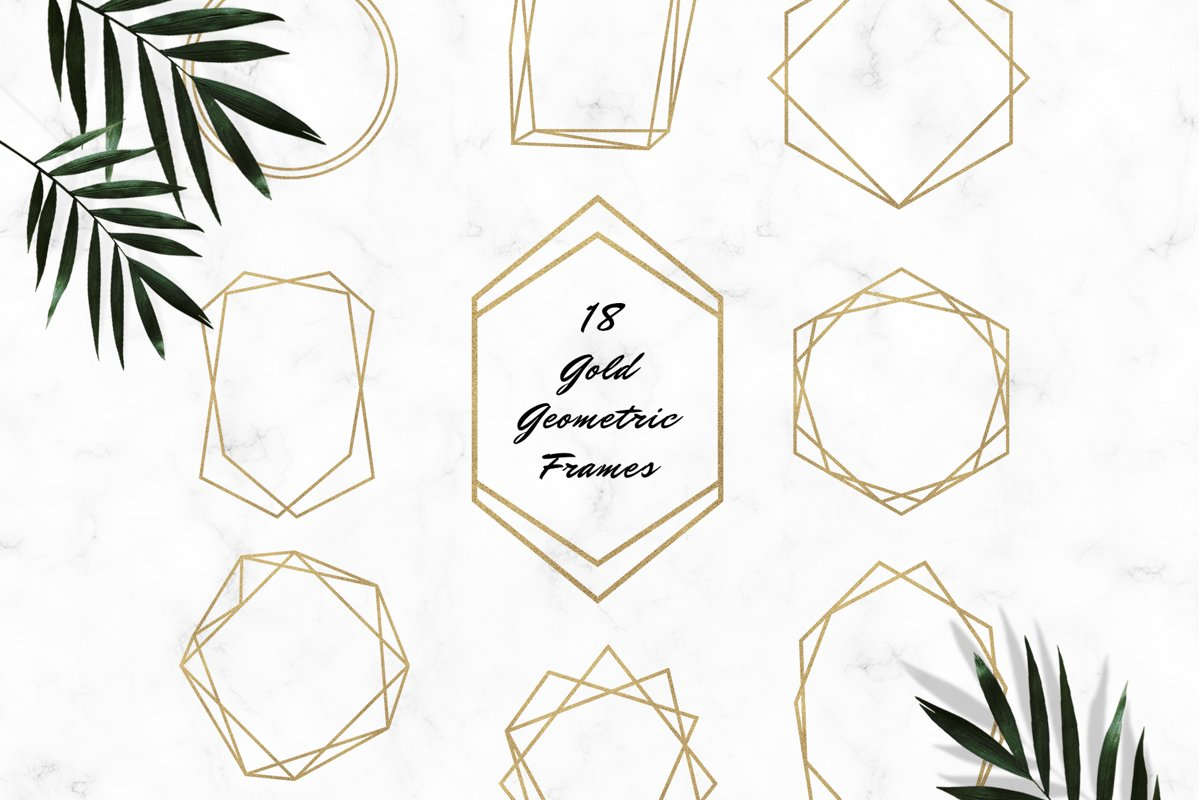 Gold Geometric Frames Clipart example image 1