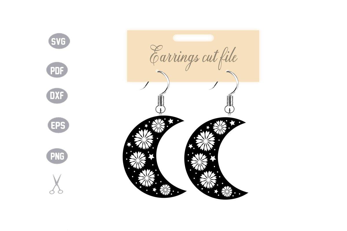 Moon Earrings SVG example image 1