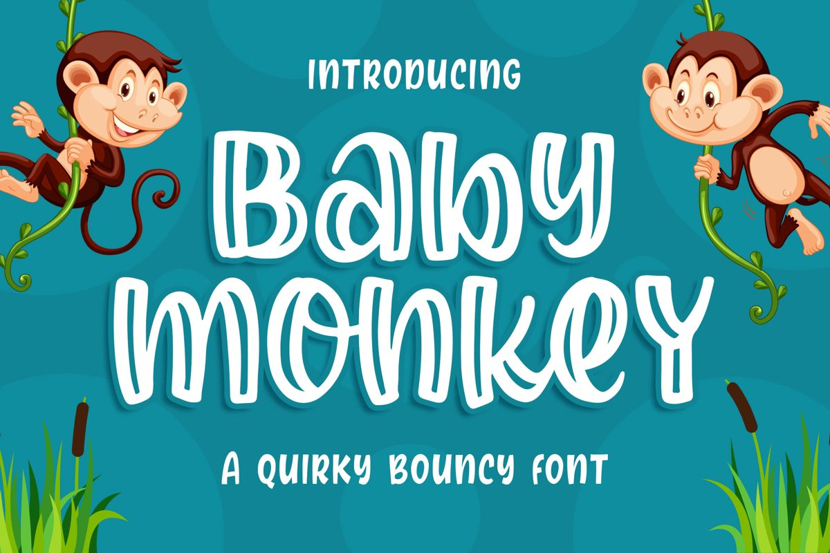 Baby Monkey - a Quirky Bouncy Font example image 1