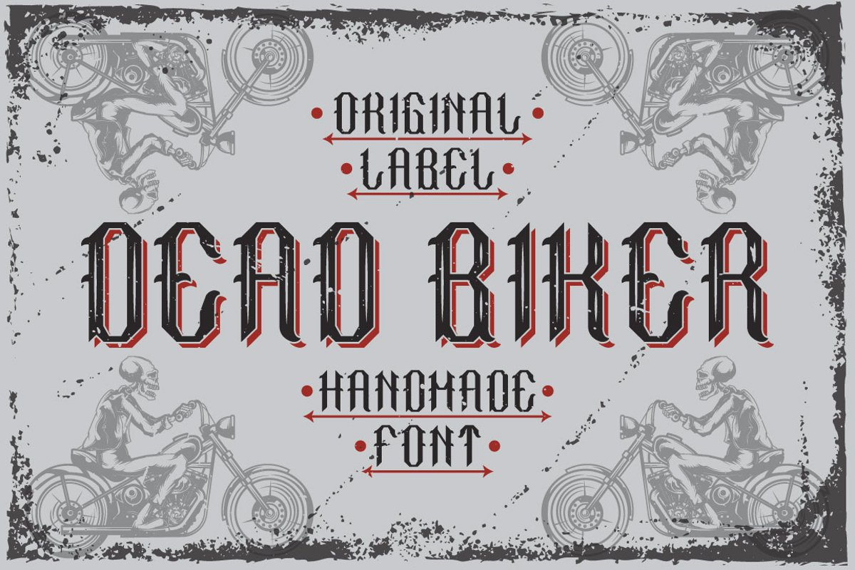 "Handcrafted font ""Dead biker"" example image 1"
