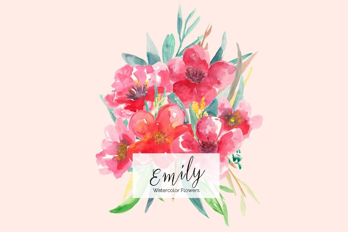 Emily Watercolors Flowers example image 1