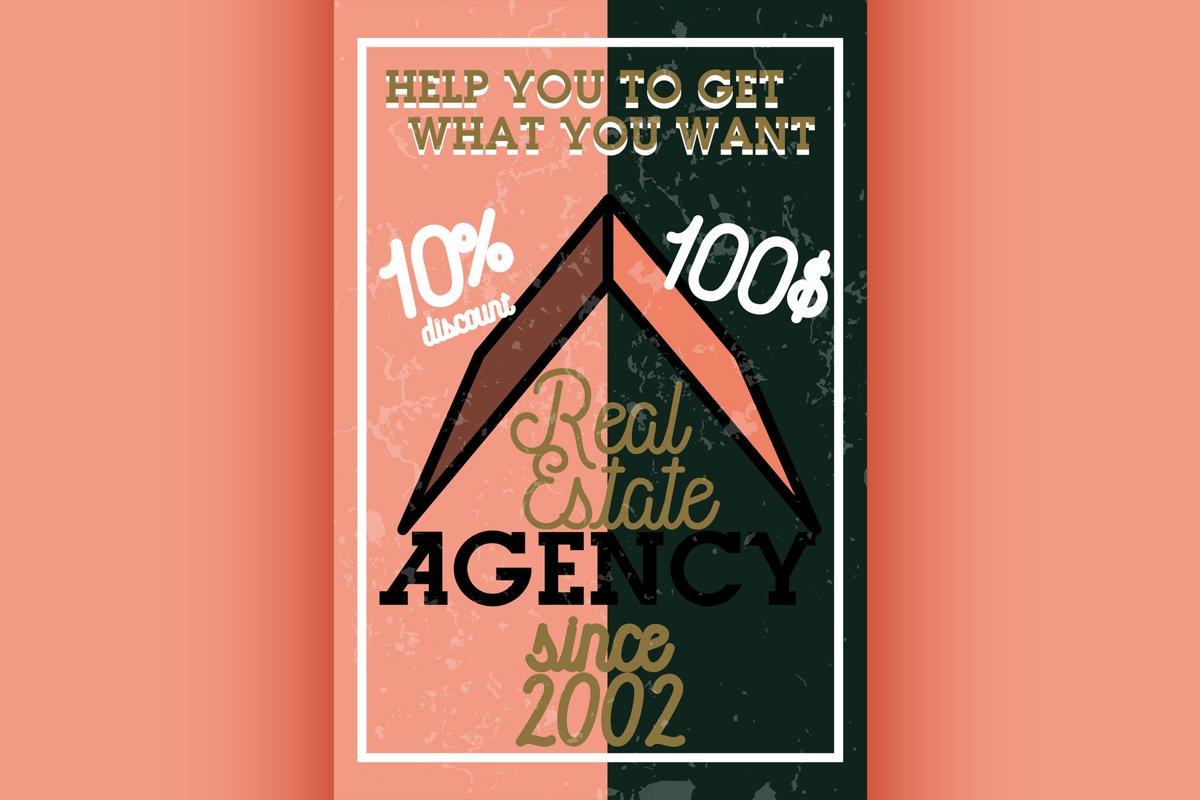 Color vintage real estate agency banner example image 1