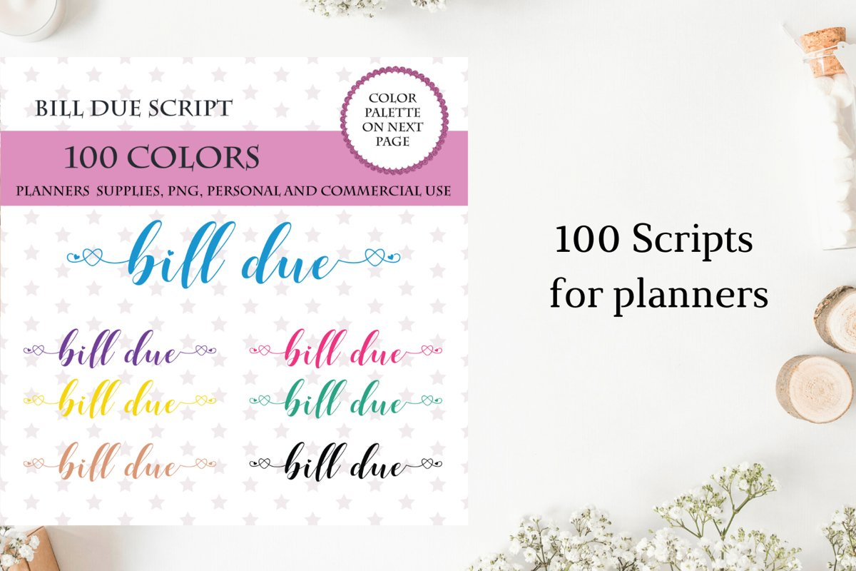 100 Bill Due font clipart, Bill Due sticker clipart example image 1