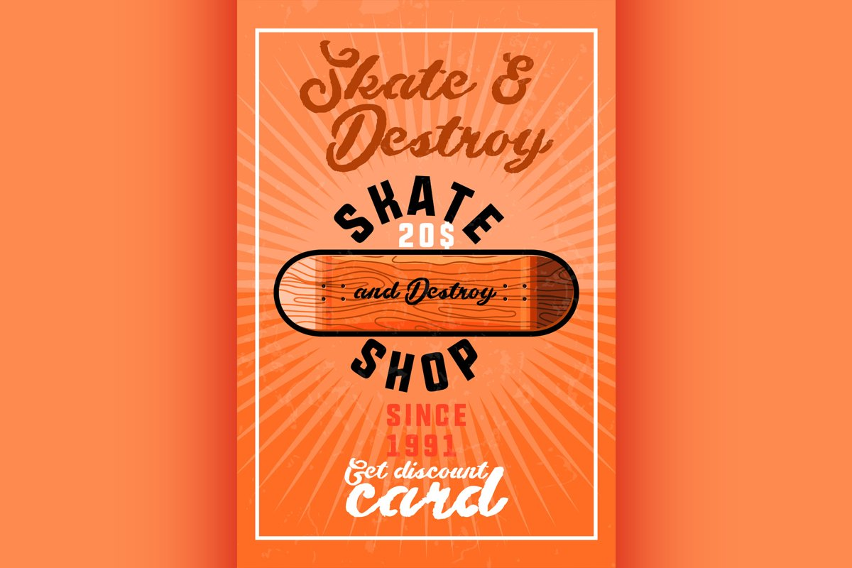 Color vintage skate shop banner example image 1