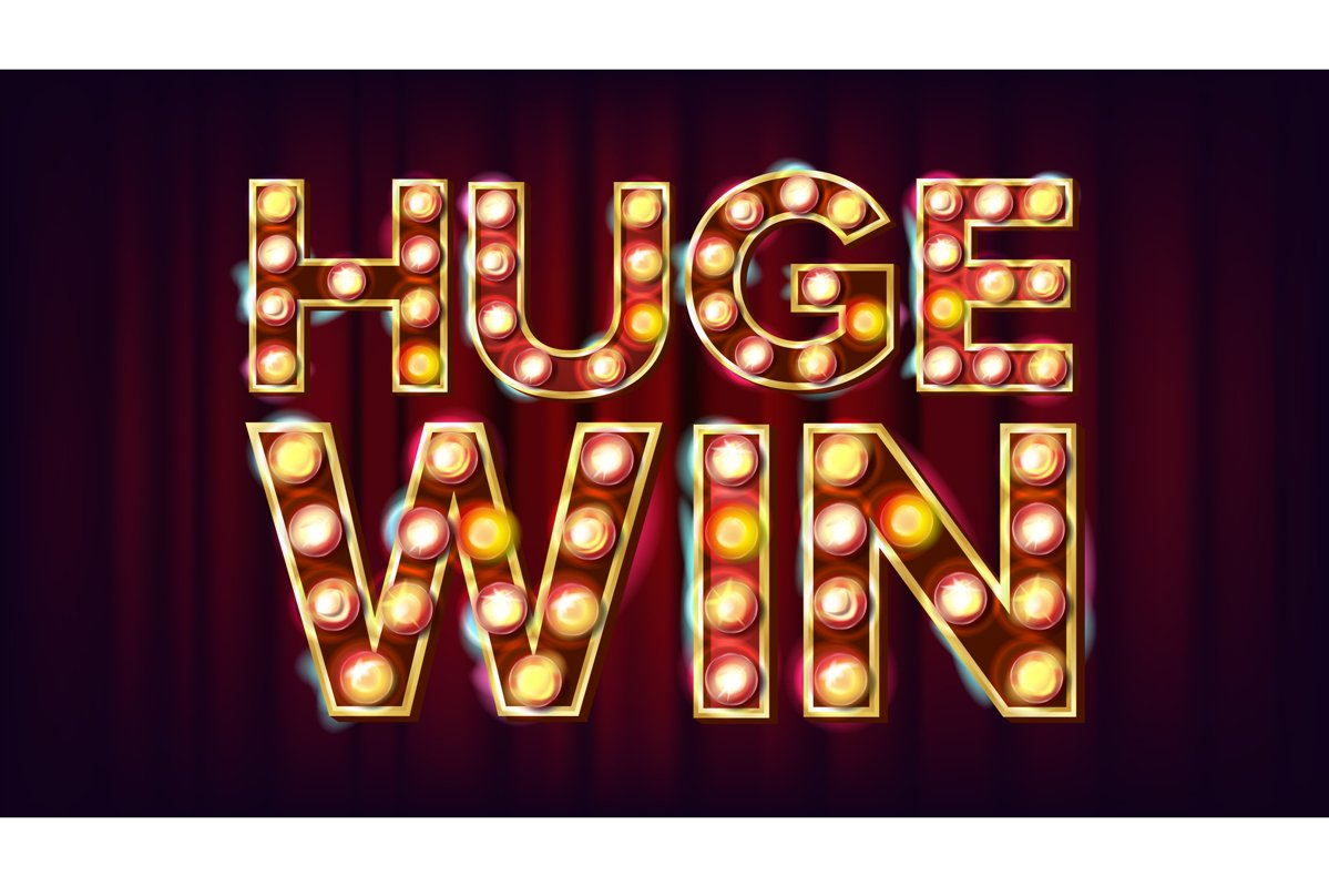 Huge Win Banner Vector. Casino Shining Lamp Background. For example image 1